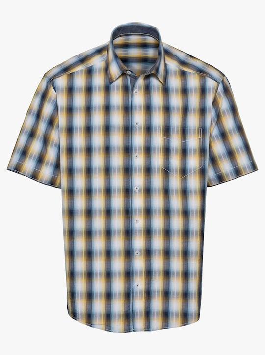 Hemd met korte mouwen - marine/geel geruit