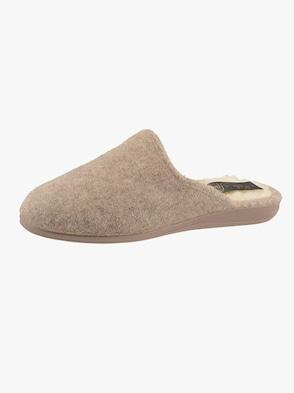 Pantoffel - grau + beige