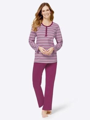 wäschepur Schlafanzüge - malve+ malve-geringelt