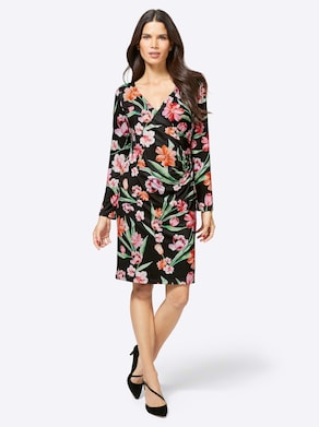 Ashley Brooke Jersey-Kleid - schwarz-rot-bedruckt