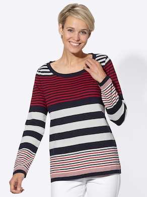 Collection L Pullover - marine-rot-gestreift