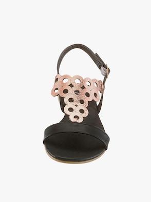 Sandalette - schwarz-rose
