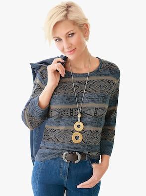 Pullover - blau-beige
