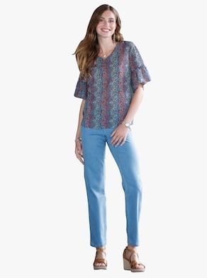 Tunika - džínová modrá-vzor