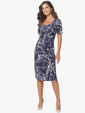Fair Lady Žerzejové šaty - námořnická modrá-potisk
