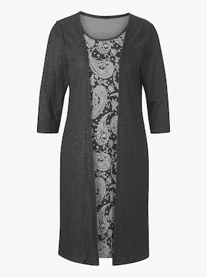 Jersey-Kleid - schwarz-wollweiß