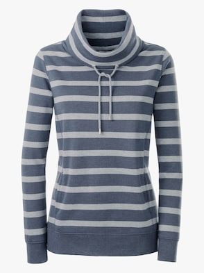 Sweatshirt - jeansblau-grau-gestreift