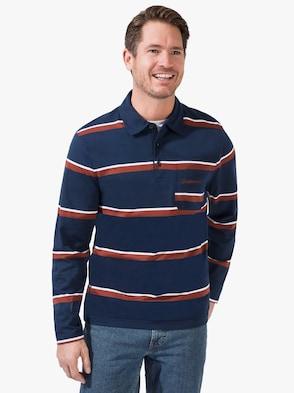 Langarm-Poloshirt - marine-gestreift