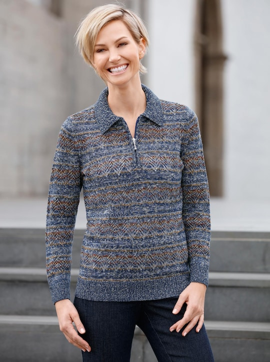 Collection L Pullover - blau-gemustert