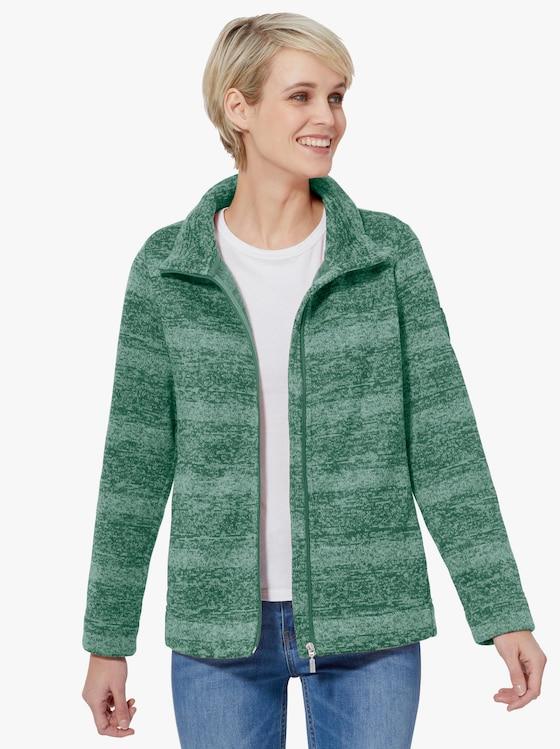 Collection L Fleecová bunda - zelená-melír