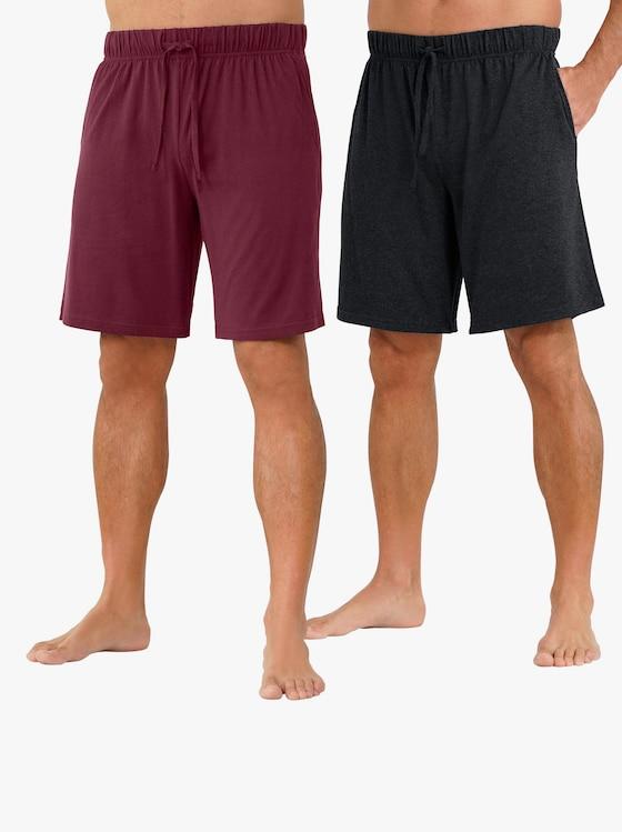 Hose kurz - bordeaux + schwarz