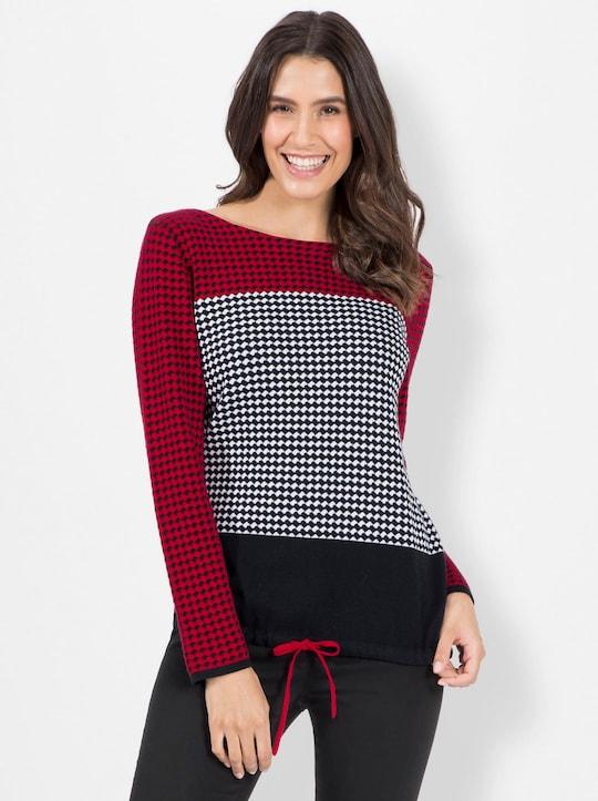 Pullover - rot-schwarz-gemustert