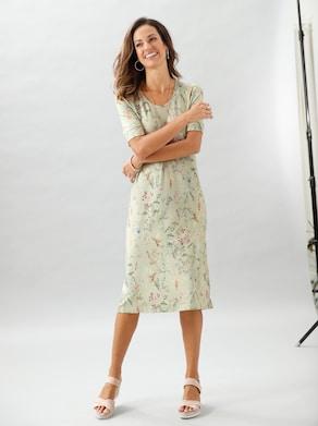 Jersey-Kleid - rosenquarz-pistazie-bedruckt