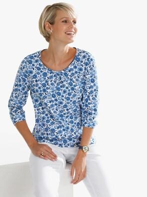 Shirt - jeansblau-bedruckt