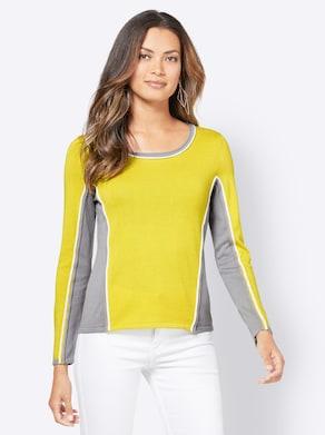 Pullover - limone-steingrau