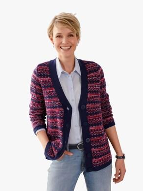 Pletený sveter - Tmavomodrá-vzorovaná