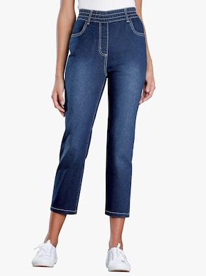 3/4 džíny - sepraná modrá stone
