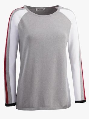 Pullover - grau-rot-gemustert