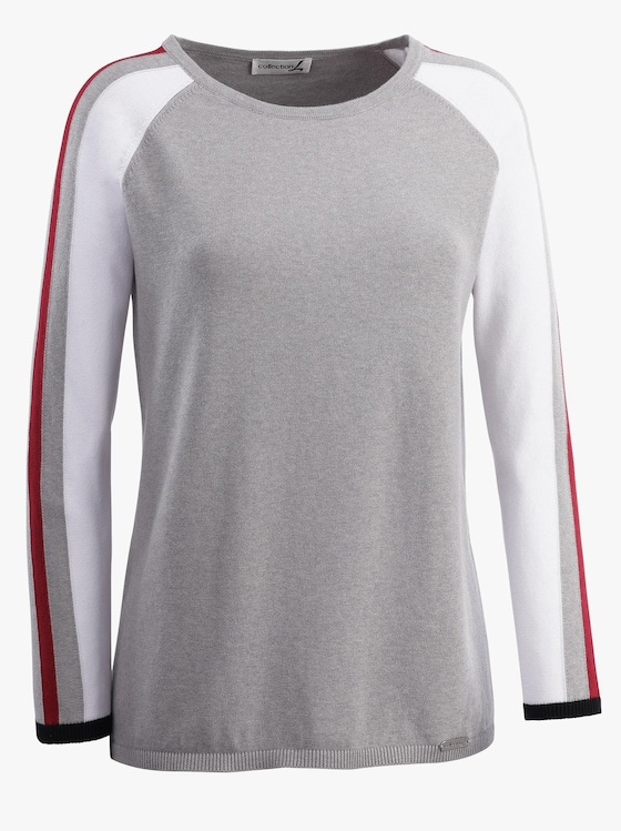 Collection L Pullover - grau-rot-gemustert