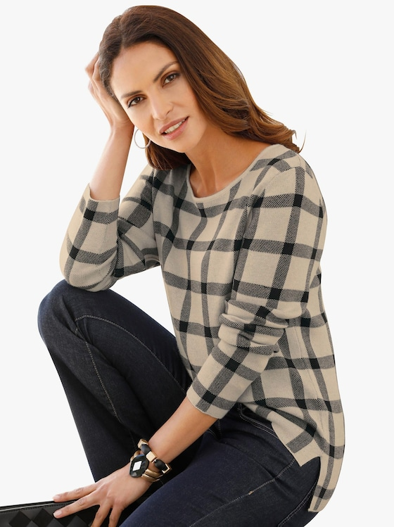Pullover - sand-schwarz-gemustert