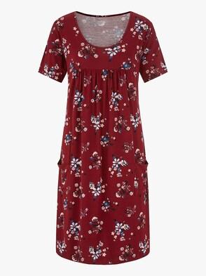 Jersey-Kleid - bordeaux-bedruckt