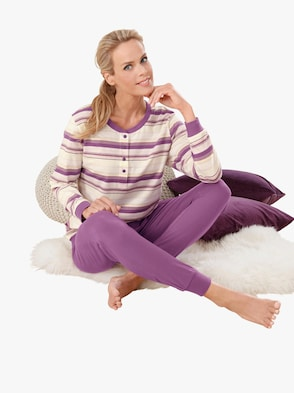 Schlafanzug - lila-geringelt