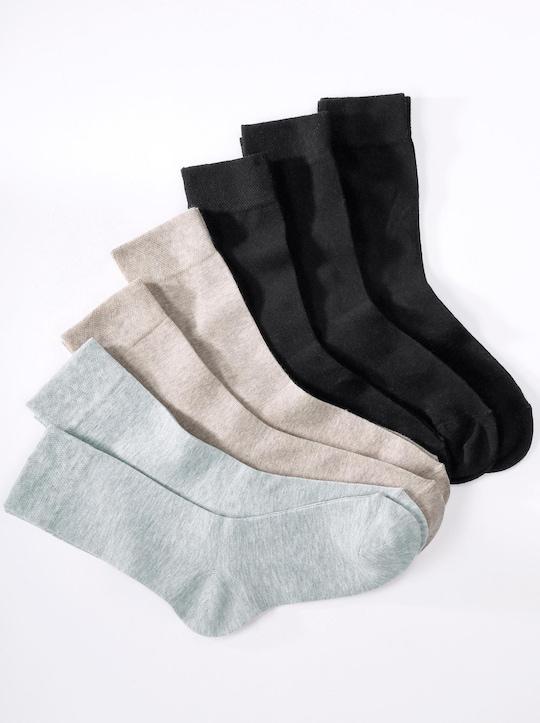 wäschepur Socken - 3x schwarz + 2x beige + 2x hellgrau