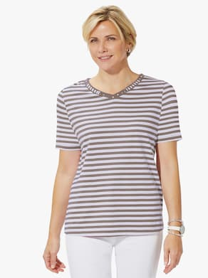 Shirt - taupe-geringelt