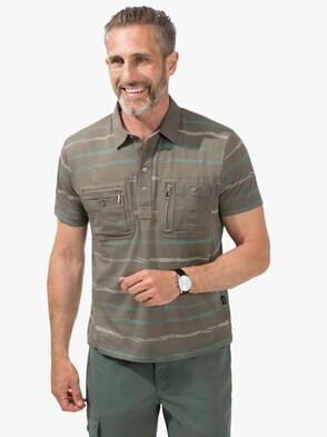 Kurzarm-Poloshirt - schilf-gestreift