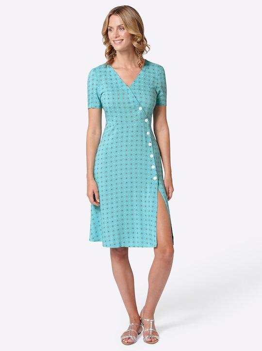 Kleid - türkis-gemustert