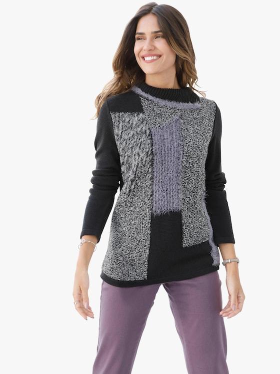 Pullover - zwart/paars gedessineerd