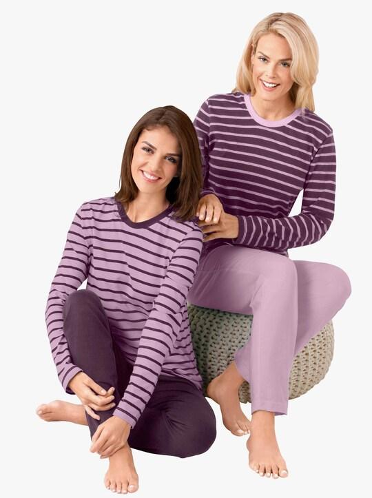 wäschepur Schlafanzüge - rosé-geringelt + lila-geringelt