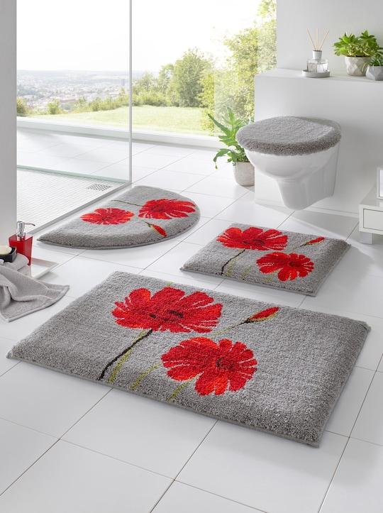 Grund Badeteppich - grau-rot