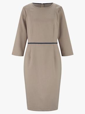 Kleid - beige-marine-bedruckt