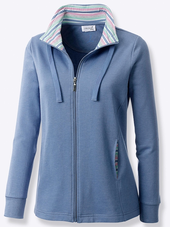 Collection L Shirtjacke - jeansblau-meliert