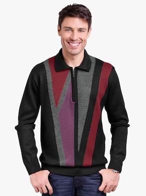 Pullover - zwart gedessineerd