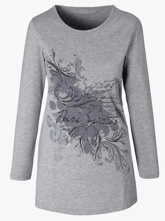 Lang shirt - grijs gemêleerd