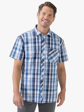 Košeľa s krátkymi rukávmi - modrá károvaná
