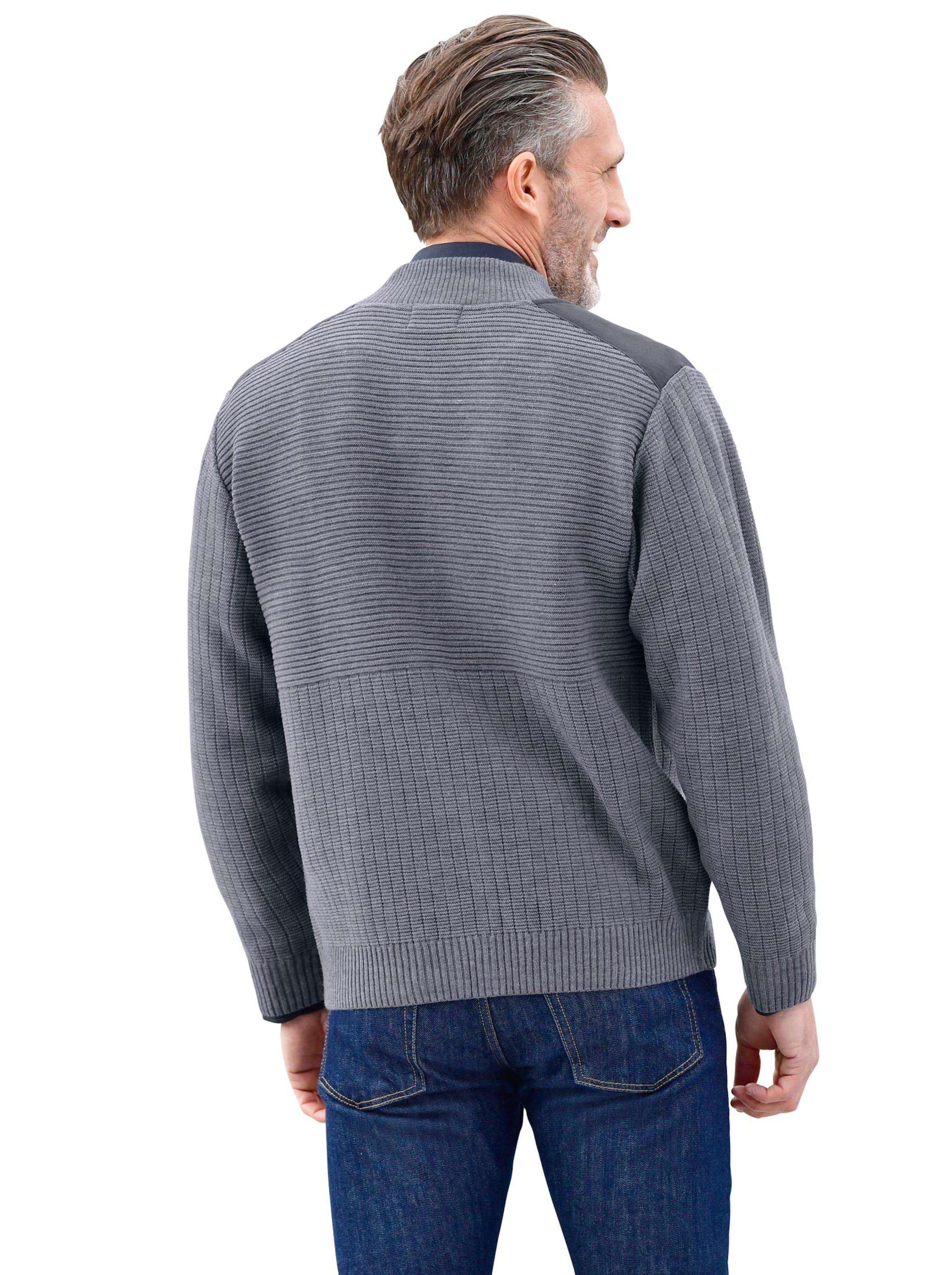 witt weiden - Herren Strickjacke blau-grau
