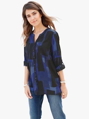 Bluse - blau-bedruckt