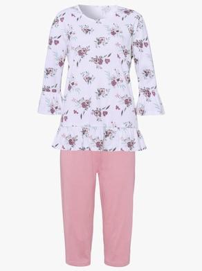 Capri-pyjama - ecru/hortensia gedessineerd