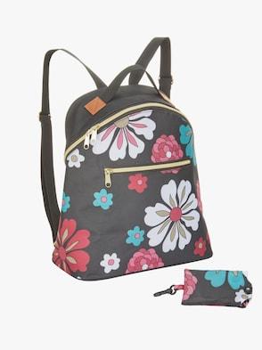 Ryggsäck med shoppingväska - svart-blommig