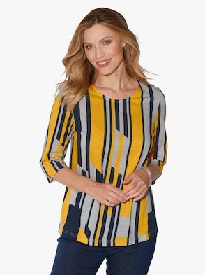 Tričko - žlutá-námořnická modrá-potisk