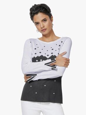 Pullover - schwarz-weiß