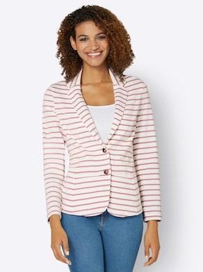 Collection L Jersey-Blazer - rosenquarz-ecru-gestreift