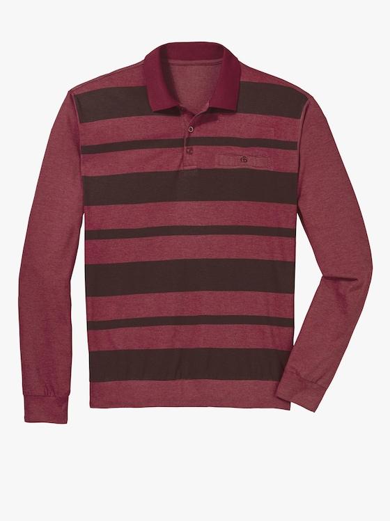Poloshirt - rot-meliert-gestreift