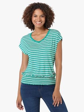 Shirt - smaragd-ecru-gestreift