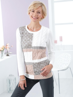Pullover - weiß-taupe