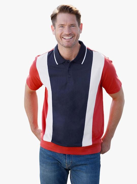 Poloshirt - rostrot-weiß-marine