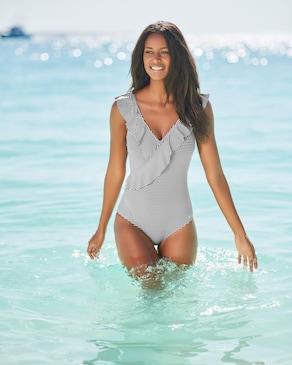 LASCANA Badeanzug - gestreift-schwarz-weiß